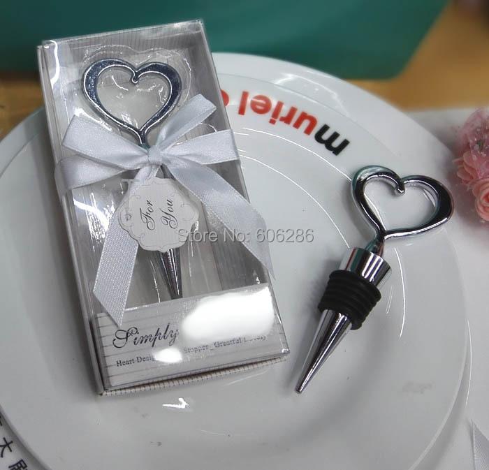 Free Shipping Alloy Heart Wine Stopper Wedding Bachelorette Party