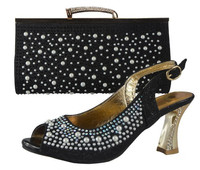 Italian Matching Shoes And Bags Set 708 13 Black Wedding Lady Heels And Handbag Set With
