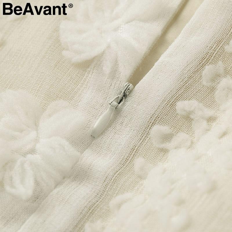 BeAvant Vintage flower embroidery short dress women Elegant spaghetti strap lace up sundress White ruffled summer ladies dresses 17