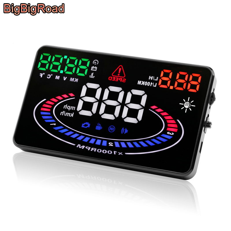 BigBigRoad Car HUD Head Up Display OBD 2 Interface Smart Digital Speedometer Windscreen Projector Overspeed voltage Fuel Alarm 5 8 inch car hud obd2 digital speedometer car windscreen projector head up display fuel speed rpm voltage alarm two display mode