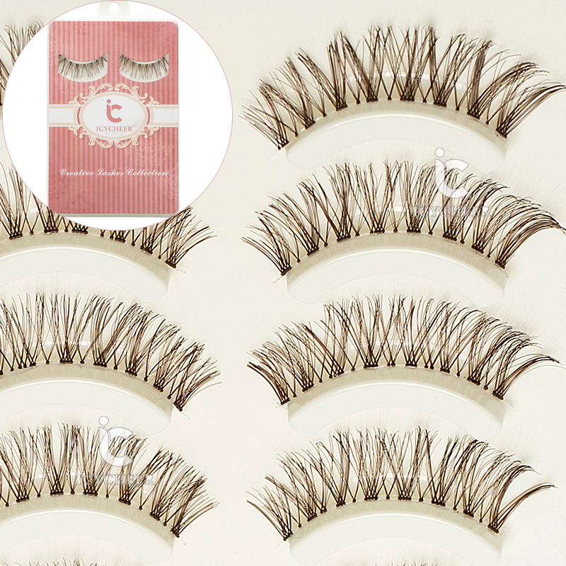 Cosmetics Natural 5 Pairs Makeup False Eyelashes Eye Lashes Extension Coffee Soft Handmade Brown