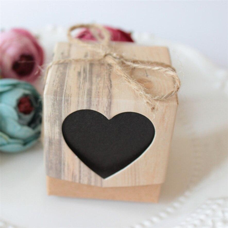 50 stücke Hochzeits-bevorzugung Favor Süße Kuchen Geschenk Candy Boxen Taschen Anniversary Party * natal navidad weihnachten * 30 2017 heißer verkauf