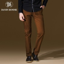 Dandy Homme High Quality 2015 Men 100% Cotton Autumn Winter Warm Leisure Long Pants Heavyweight Jersey Fashion Brown Man Pant