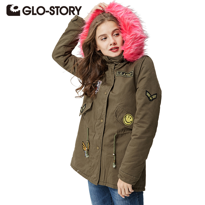 GLO-STORY Brand Women's Winter Jacket Coat Casual Fashion Women   Parka   High Quality Female Hooded Winter Coats WSX-3524