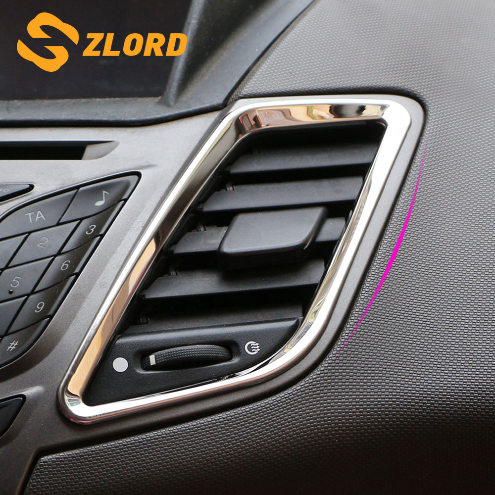Zlord 2Pcs/Set Stainless Steel Interior Front Air Vent Protection Trim Stickers For Ford Fiesta 2009 - 2015 Accessories