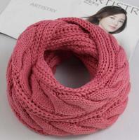 Warm Scarves Two Circle Knitted Cowl Neck Long Shawls Hijab Men Women Winter Scarf Knitting Wool Collar Neck Warmer