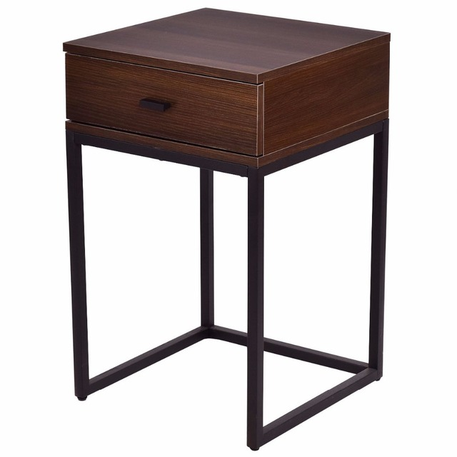 Goplus 2PCS Set Nesting Modern Coffee Side Table Wood Portable End Table Metal Frame Glass Top Coffee Tables with Drawer HW56083 4