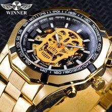 Winner Steampunk Men 3D Luminous Skull Design Golden Steel Mens Waterproof Automatic Skeleton Wrist Watch Top Brand Luxury Clock цена и фото