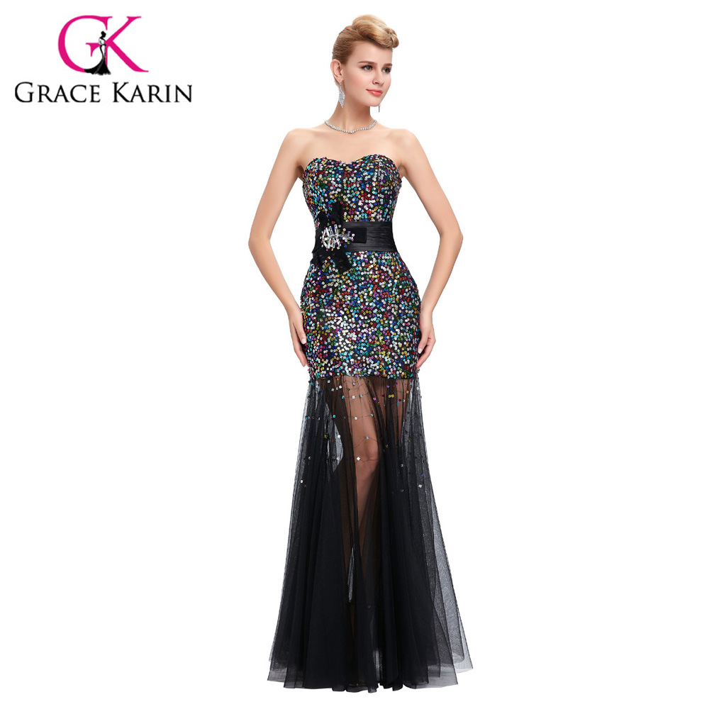 2018 Sexy Sweetheart Colorful Sequin Black Mermaid   Prom     Dress   Long Formal Evening Tulle Gown   Dress   Women Peacock   Dress   6026