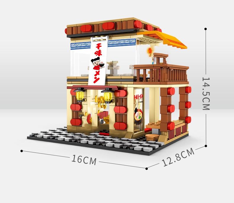 Street Hamburger Cafe Retail Convenience Store Architecture Building Blocks Compatible Legoed Technic City Street View Brick Toy 41