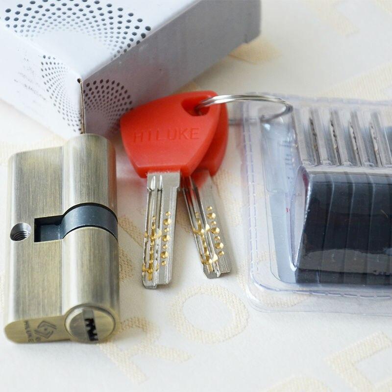HILUKE brass door lock cylinder safe lock europe stander 70mm lock core high secure key
