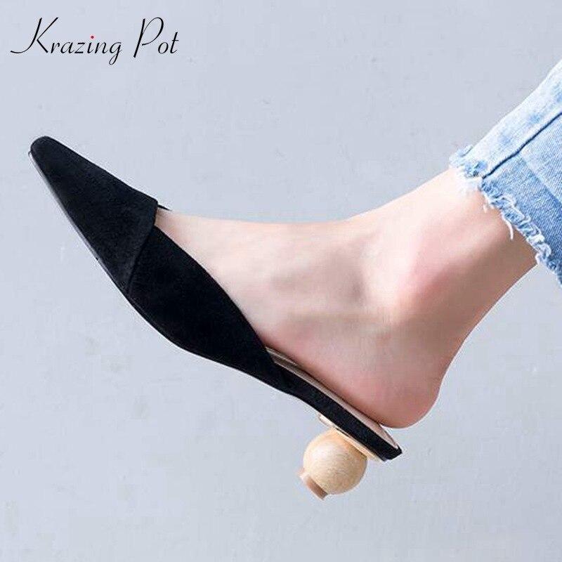 b923f656798 Paresseux Krazing Style L03 Sandales Peu Enfant Daim Apricot Européen  Profonde À Étrange Preppy Chaussures Pointu Pot noir Mules ...