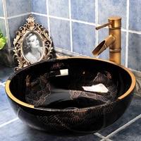 Black White Gold Color Flower Ceramic Hotel Basin Bathroom Sink