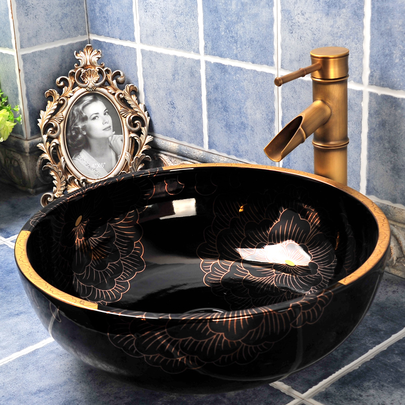 Noir Blanc Or Couleur Fleur En Céramique Bassin Hôtel Salle De Bains Évier