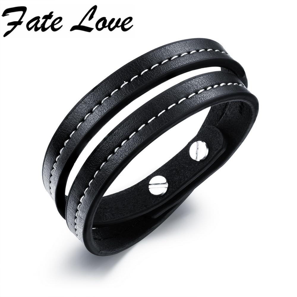 c92765eed834 Moda encanto doble círculo multilayer pulseras de cuero hombres y pulsera  encanto pulsera pulseras FL1049
