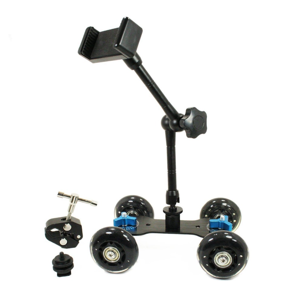 4 Wheel Tabletop Mobile Rolling Slider Dolly Car with Smartphone Clamp Mount kit