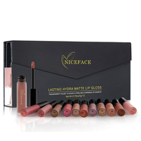 NICEFACE 12pcs Set Mixed Color Makeup Lipstick Non Stick Lasting Lip Stick Matte Liquid Lipstick Lip