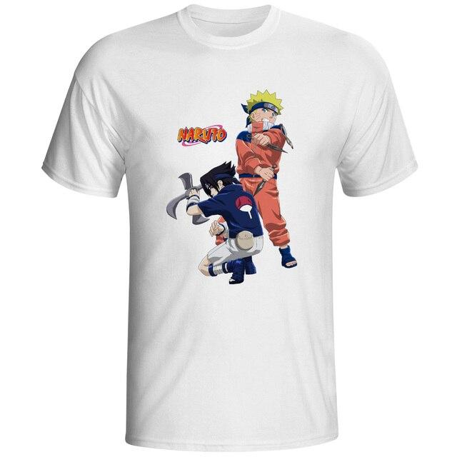 02e3385d9 Naruto VS Sasuke With Ninja Weapon T-shirt Funny Anime Cartoon Design T  Shirt Print Casual Cool Women Men Top Tee