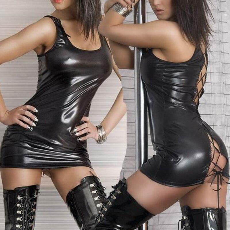 Women Sexy Lingerie Hot Pole Dance Costumes Faux Leotard Unitard Leather Erotic Lingerie Latex Dress Exotic Apparel Pluse Size 2