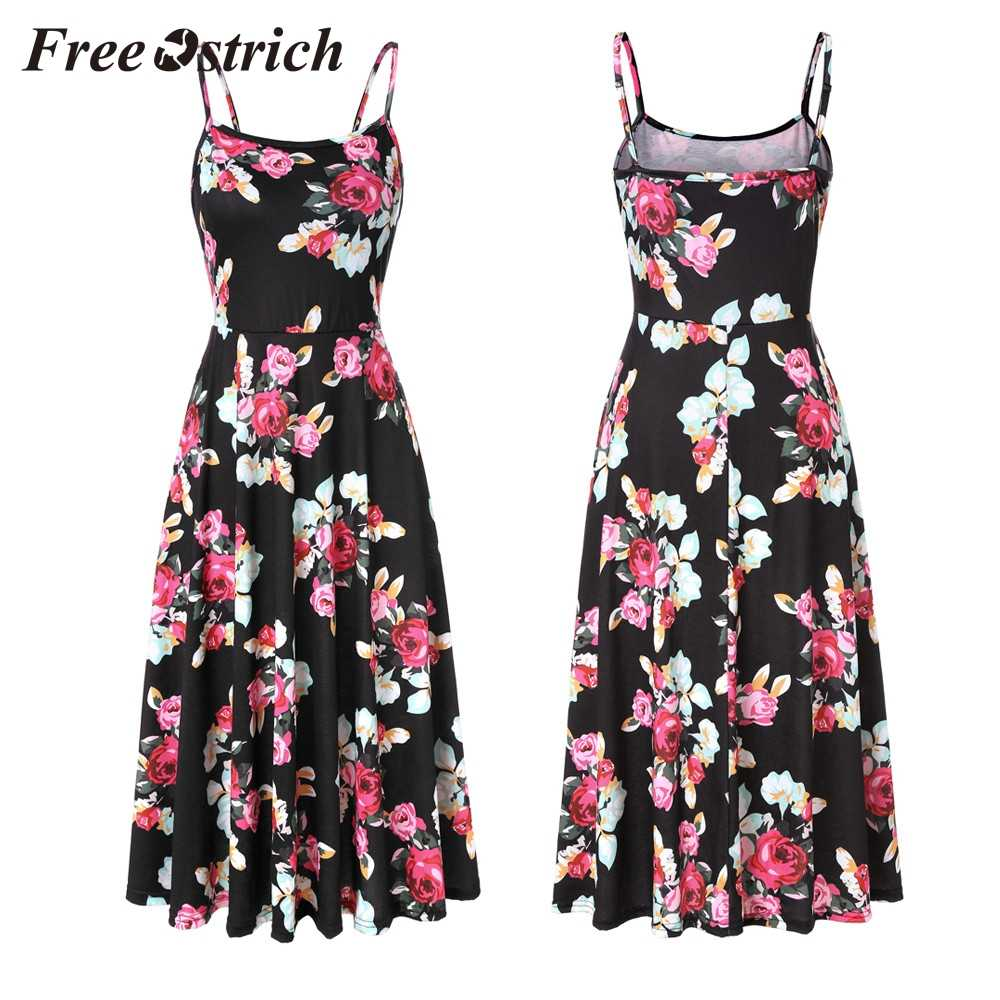 Free Ostrich 2019 Women's Sleeveless Adjustable Strappy Summer Floral Flared Swing Dress Waist Highlights Graceful Chic Dress
