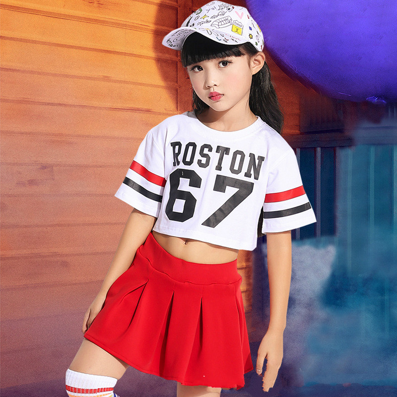 New Style Kids Stomach Dance Youngsters Set Clothes 2 Pcs Brief T Shirt + Skirt Costumes Dancing Women Efficiency Wholesale Units youngsters set clothes, youngsters set, set clothes,Low-cost youngsters...