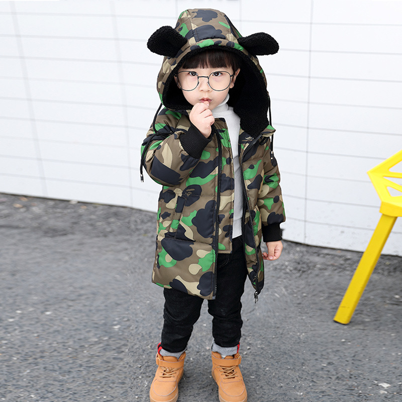 Winter Spring Kids Fashion Jacket For Boys Girls Warm Thick Outwear Children Camouflage Coat Baby Long Style Clothes Suits