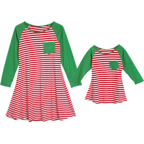 Family Matching Dresses Cotton Clothes Mother Daughter Kids Girls Xmas Dress Long Sleeve Stripe Sundress Loose
