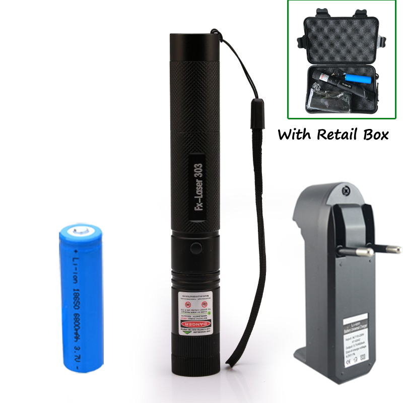 1set Laser 303 High power 532nm Pointer Burning Match Laser Pen with Safe Key Green Red laser + 18650 battery+charger +Box