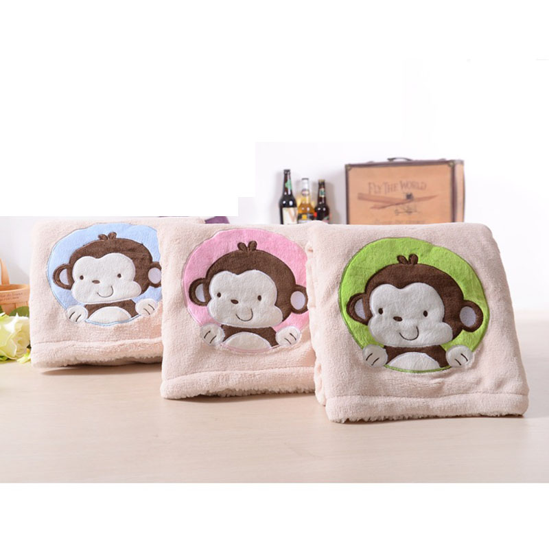 Winter Baby Monkey Blankets Thicken font b Double b font Layer Fleece Infant Swaddle Envelope font