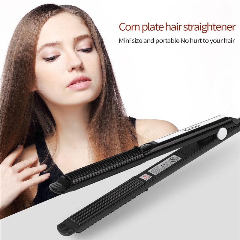 Kemei Ceramic Hair Corrugated Curling Iron Hair Straightener Crimper Temperature Adjustment Electric Curler Corrugated Wave Hair