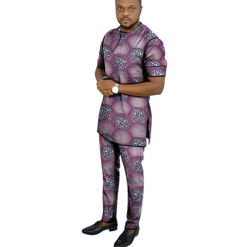 African Print Shirts+pant Men's Set Clothing Short Sleeve Top With Trouser 2 Pieces Outfits Man Wedding Wear Customized(China)