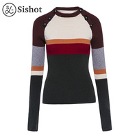 Sishot Women Casual Knitwear 2017 Autumn Winter Hunter Stripes Color Block O Neck Long Sleeve Slim