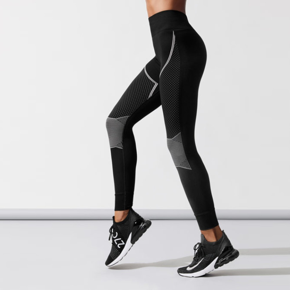 Casual Autumn Style Ladies Workout Fitness Leggings Geometric Printing Polyester Sportswear Leggings