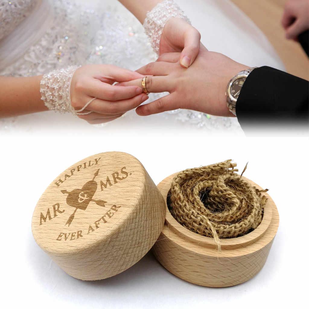 Caja de anillo, caja de madera para boda, caja de almacenamiento de anillo, organizador de anillos de madera de haya, accesorio de fiesta de boda, caja de almacenamiento de anillo # EW