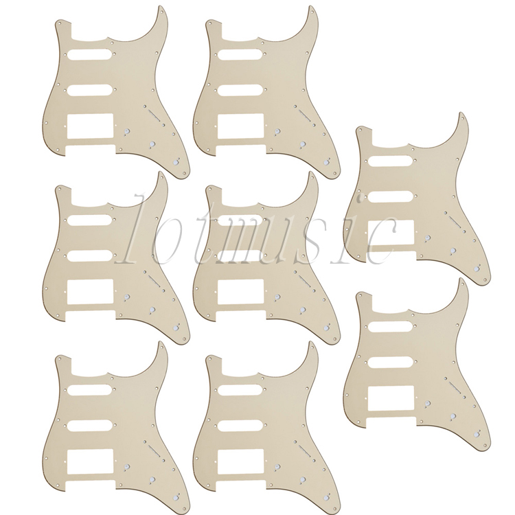 8Pcs SSH Guitar Pickguard 3-ply 11 Hole Beige PVC For Electric Strat Replacement 3 ply electric guitar pvc pickguard for fender strat st musical stringed instruments guitar parts