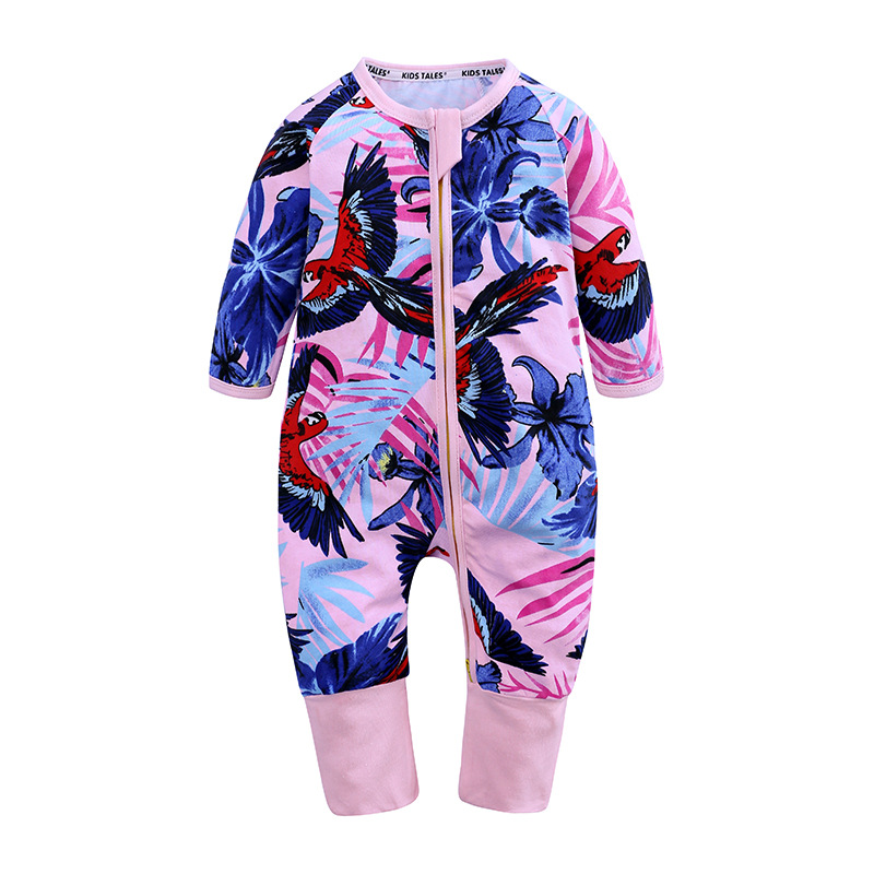 6cc14624561e Girl baby clothes spring and autumn cotton long-sleeved flowers eagle full  printed onesies female