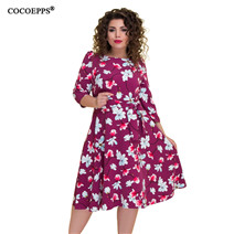 COCOEPPS-2018-New-Large-Size-Autumn-Winter-Women-Dress-Foral-Print-Elegant-Casual-Chinese-Style-Dress
