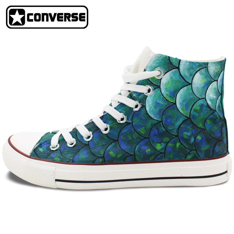 Men Women Hand Painted Converse Chuck Taylor Skateboarding Shoes Design Custom Fish Scale Canvas Sneakers High Top Flats Shoes converse chuck taylor women men shoes anime tokyo ghouls custom design hand painted shoes high top white sneakers cosplay gifts