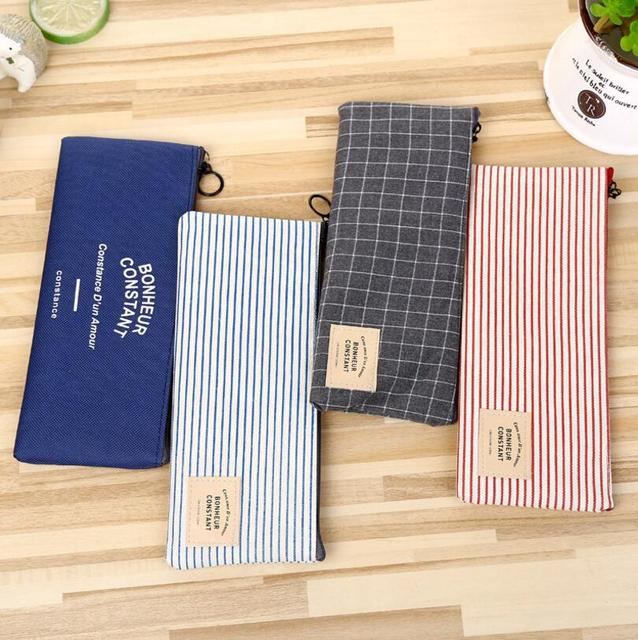 korea vintage canvas pencil cases classic striped zipper pencil bags