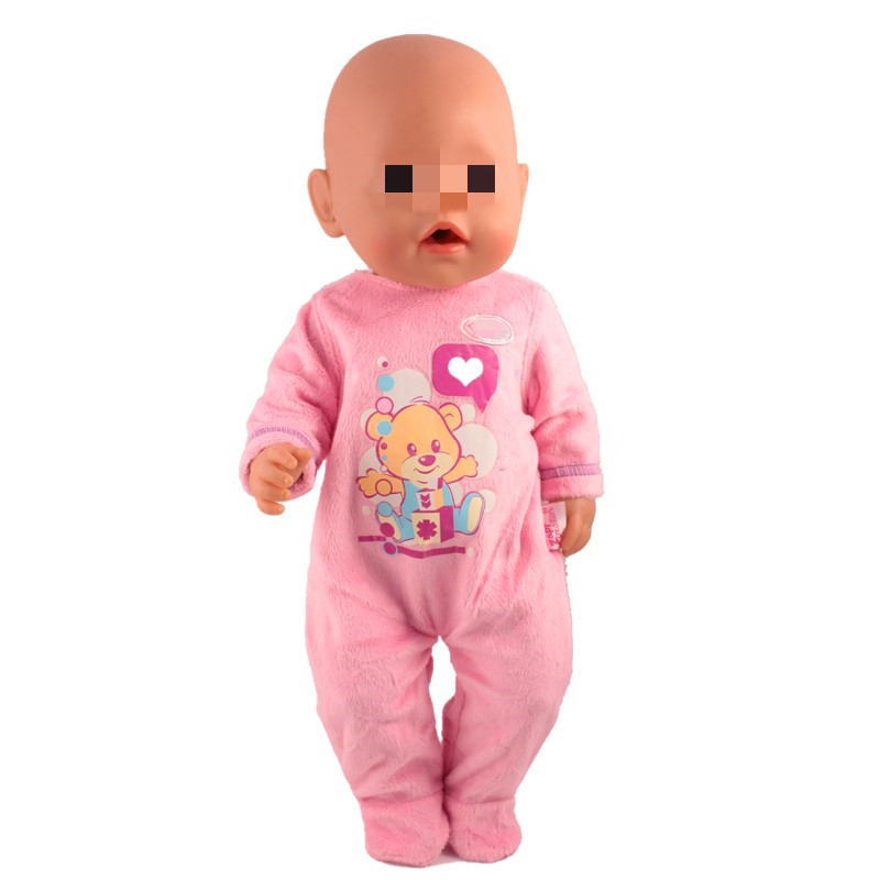 Doll Jump Suits Clothes For Dolls Fit 43cm Baby Doll Pink Bear Heart Jumpsuit For 17inch Doll Best Girl Gift