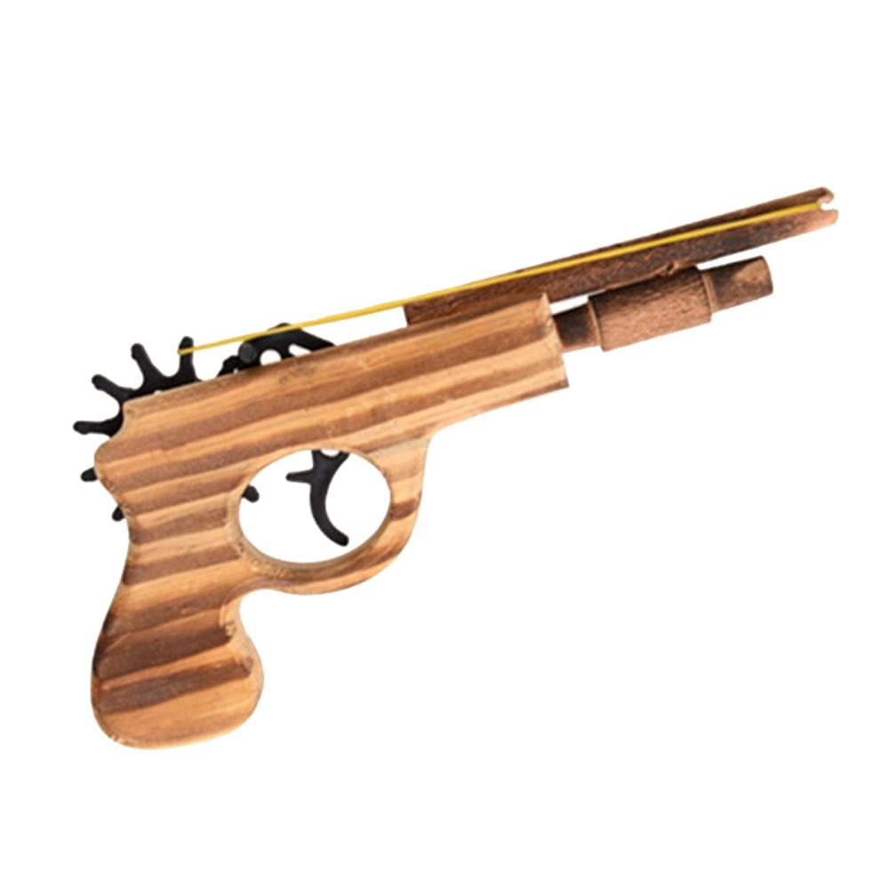 1pcs/set Bullet Rubber Band Launcher Wooden Gun Hand Pistol Guns Shooting Toy Gifts Boys Outdoor Fun Sports For Kids