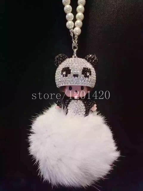 Панда шляпу перл цепи monchichi кристалл брелки с жемчугом сумочка шарм брелок брелок сумку очарование