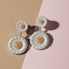 CMAJOR Solid Sterling Silver Jewelry Two Tone Vintage Elegant Daisy Bellis Perennis Drop Earrings For Women two tone drop shoulder hoodie