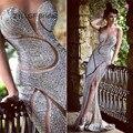 ZYLLGF Nupcial Atractivo de La Sirena Cariño vestido de Noche Largo Vestidos Raja Del Lado Vestido de Fiesta Completo Con Cuentas Vestido De Noche de Lujo Turquía DR52