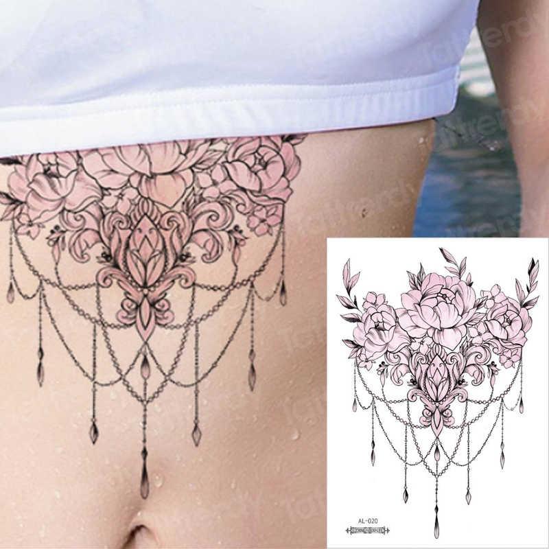 Sob peito tatuagem corpo tatuagem temporária sexy árabe indiano jóias flor de lotus mandala art stickers biquíni aquarela renda tatoo