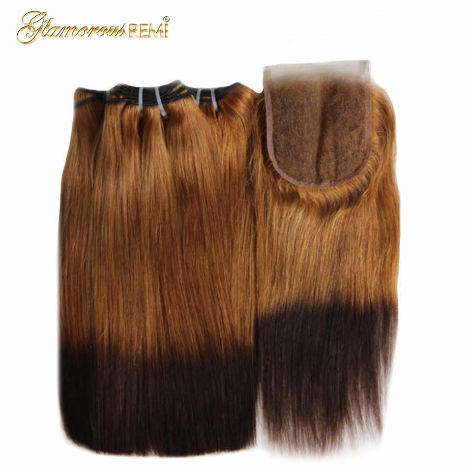 Ombre indyjski ludzki włos podwójnie rysowane włosy fumi zestawy z zamknięciem prosto remy włosy wyplata wiązki z zamknięciem wysoki stosunek