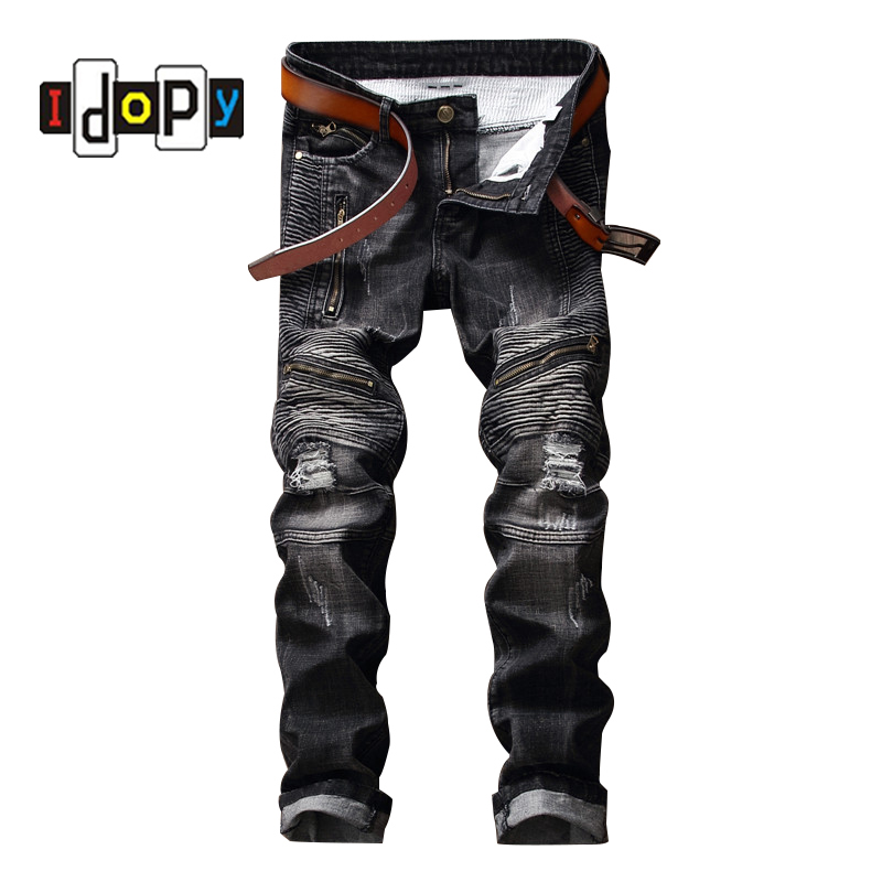 ФОТО Fashion Men's Punk Style Biker Jeans Knee Zippers Black Ripped Jeans With Hole Brand Designer Denim Pants Trousers For Men