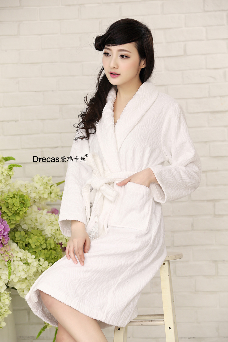Womens autumn and winter 100% cotton hotel and home bath robe ladies front opening hotel bathe sleepwear tick nightdress