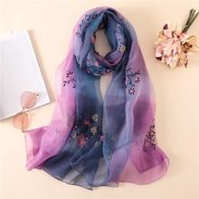 Silk flower scarf women elegant Embroidery silk red hair shawls summer spring pashmina bandana light-weight stoles