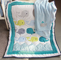 8Pieces baby bedding set 3D embroidery Dolphin Baby crib bedding set 100% cotton include Quilt Bumper bed Skirt boys girls blue